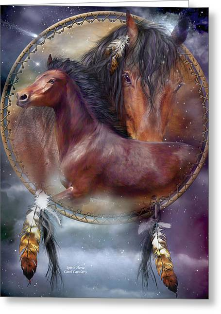 Equine Mixed Media Greeting Cards - Dream Catcher - Spirit Horse Greeting Card by Carol Cavalaris