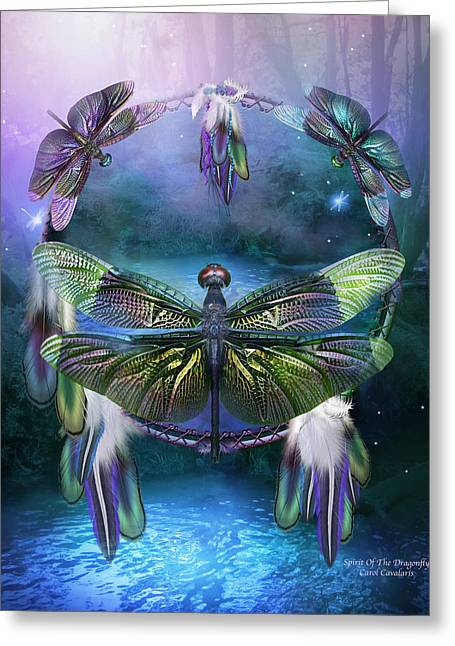 Dream Mixed Media Greeting Cards - Dream Catcher - Spirit Of The Dragonfly Greeting Card by Carol Cavalaris