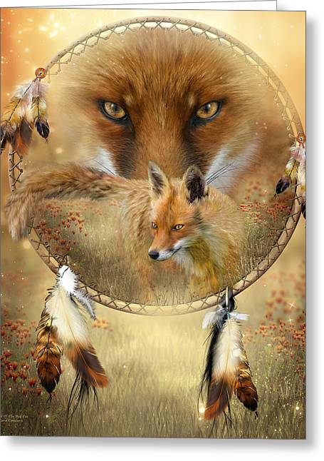 Dream Catcher- Spirit Of The Red Fox Greeting Card by Carol Cavalaris