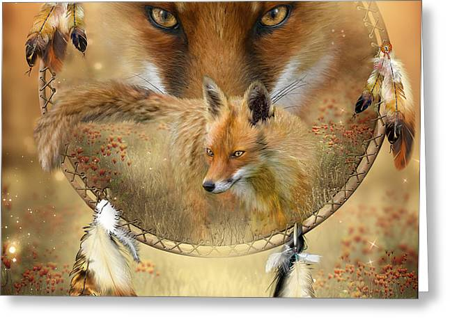 Dream Catcher- Spirit Of The Red Fox Greeting Card by Carol Cavalaris