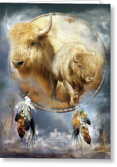 Cards Mixed Media Greeting Cards - Dream Catcher - Spirit Of The White Buffalo Greeting Card by Carol Cavalaris