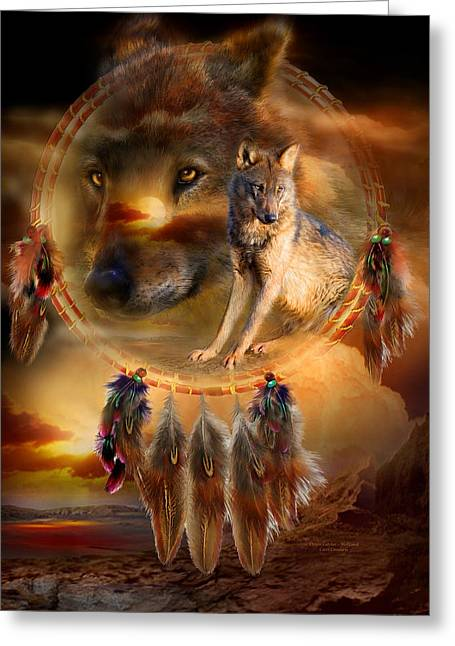Native-american Greeting Cards - Dream Catcher - WolfLand Greeting Card by Carol Cavalaris