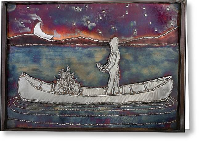 Canoe Reliefs Greeting Cards - Dream Ended I Went Out Awake Greeting Card by Chip Vander Wier