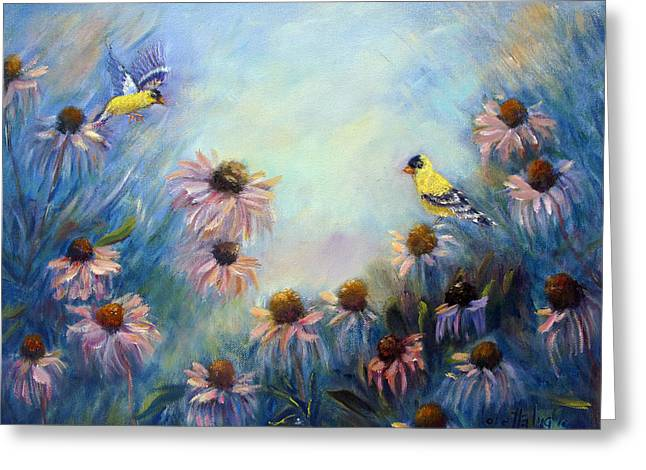 Surreal Landscape Drawings Greeting Cards - Dream Garden with Goldfinches and Coneflowers Greeting Card by Loretta Luglio