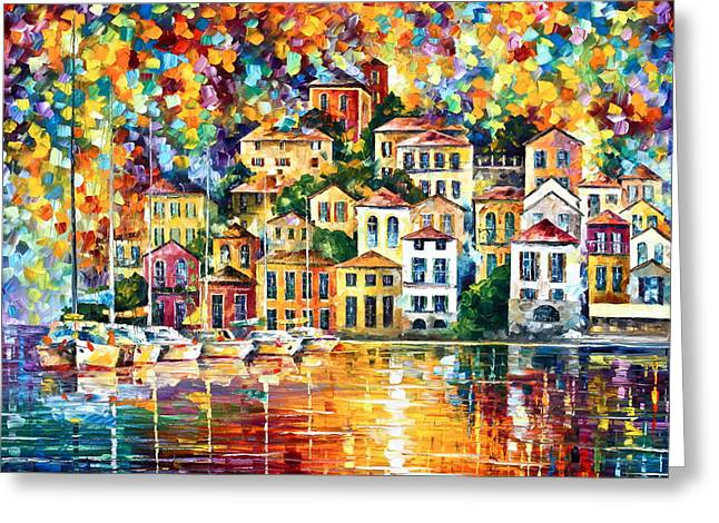 Recently Sold -  - Docked Boat Greeting Cards - Dream Harbor Greeting Card by Leonid Afremov