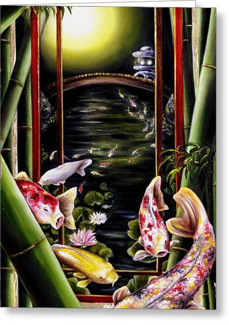 Japanese Fish Greeting Cards - Dream Greeting Card by Hiroko Sakai