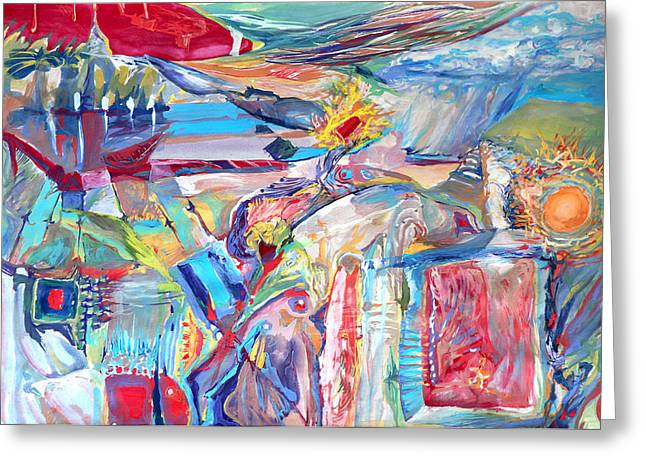 Abstract Beach Landscape Drawings Greeting Cards - Dream house Greeting Card by Konstantin  Dimitrov