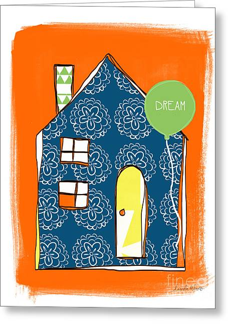 Dream Mixed Media Greeting Cards - Dream House Greeting Card by Linda Woods
