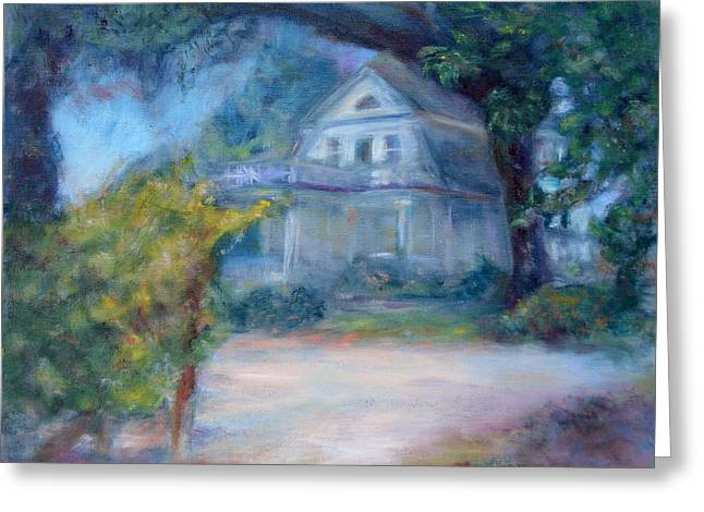 Fruit Tree Art Greeting Cards - Dream House - Original Impressionist Painting Greeting Card by Quin Sweetman