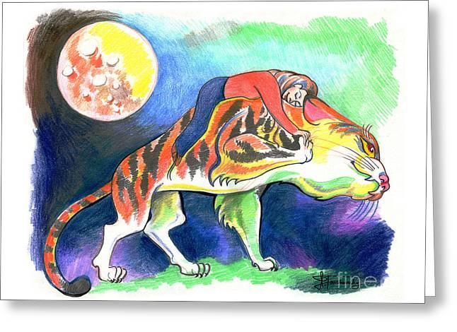 Tiger Dream Greeting Cards - Dream Greeting Card by Ilana Tavshunsky