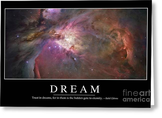 Celestial Pillars.celestial Greeting Cards - Dream Inspirational Quote Greeting Card by Stocktrek Images