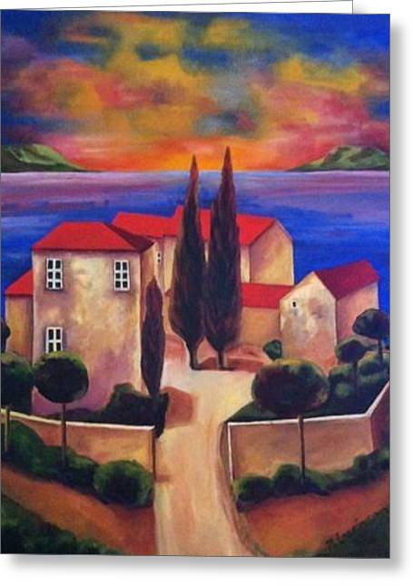 Tuscan Sunset Greeting Cards - Dream Island Greeting Card by Nancy Levinson