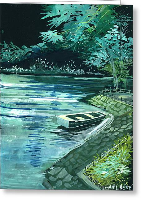 Summer Scene Drawings Greeting Cards - Dream Lake Greeting Card by Anil Nene