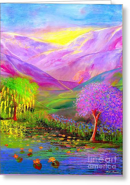 Lotus Blossoms Greeting Cards - Dream Lake Greeting Card by Jane Small