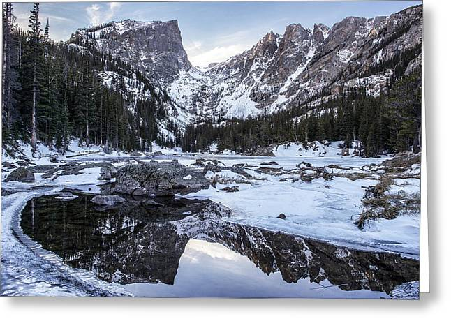 Reflection Of Sun In Clouds Greeting Cards - Dream Lake Reflection Greeting Card by Aaron Spong