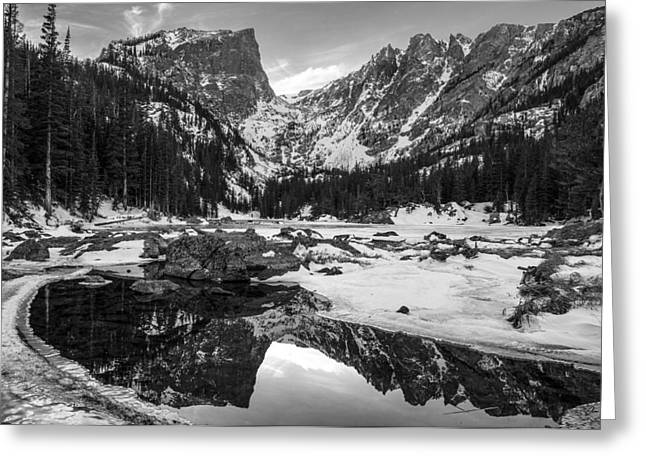 Crisp Greeting Cards - Dream Lake Reflection Black and White Greeting Card by Aaron Spong