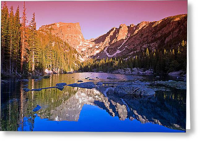 Mountain Reflection Lake Summit Mirror Greeting Cards - Dream Lake Sunrise Greeting Card by Brian Kerls
