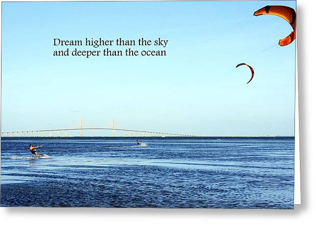 Kite Boarding Greeting Cards - Dream Greeting Card by Laurie Perry