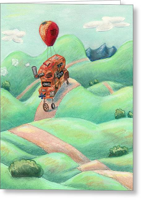 Kids Books Pastels Greeting Cards - Dream Machine Greeting Card by Athena Lutton