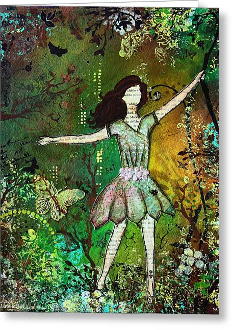 Janelle Nichol Greeting Cards - Dream Nature inspired mixed media folk art painting of Young Girl Greeting Card by Janelle Nichol