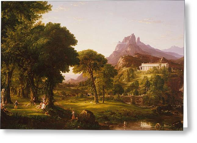 Cole Paintings Greeting Cards - Dream of Arcadia  Greeting Card by Thomas Cole
