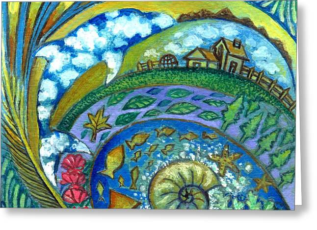 Sea Shell Art Drawings Greeting Cards - Dream of Nature1 Greeting Card by Praphavit Premtha