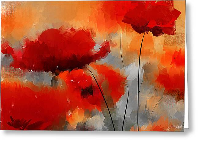 Floral Art Paintings Greeting Cards - Dream Of Poppies Greeting Card by Lourry Legarde
