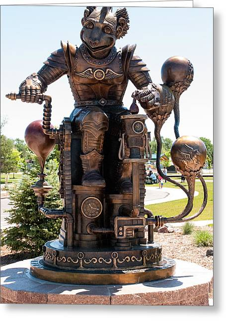 Geobob Greeting Cards - Dream Redeemer Bronze Sculpture of Steam Punk Flying Monkey Sterling Colorado Greeting Card by Robert Ford