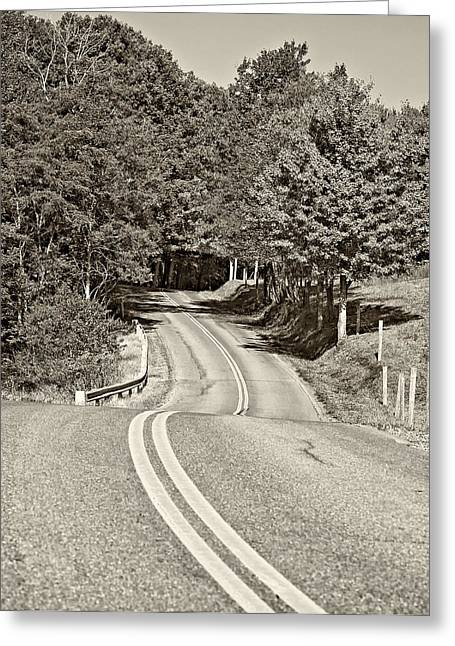 Road Travel Greeting Cards - Dream Road sepia Greeting Card by Steve Harrington