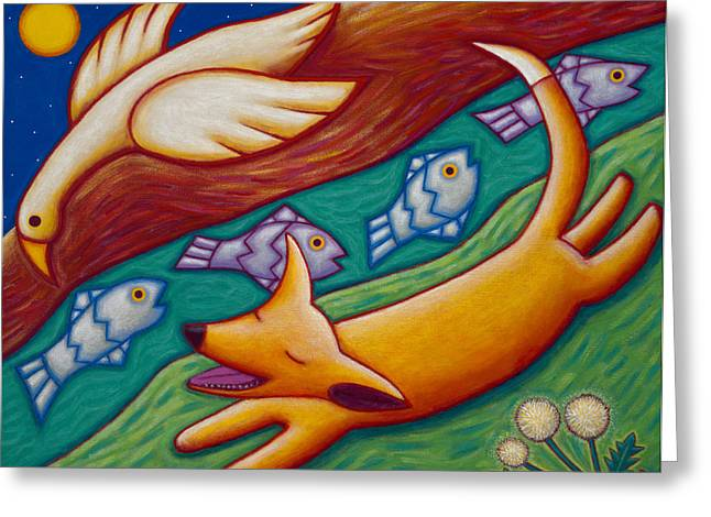 Dream Scape Paintings Greeting Cards - Dream Runner Greeting Card by Mary Anne Nagy