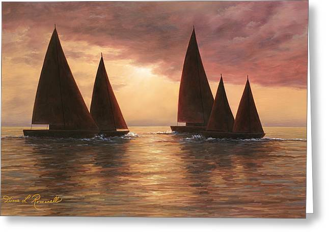 Sunset Prints Greeting Cards - Dream Sails Greeting Card by Diane Romanello