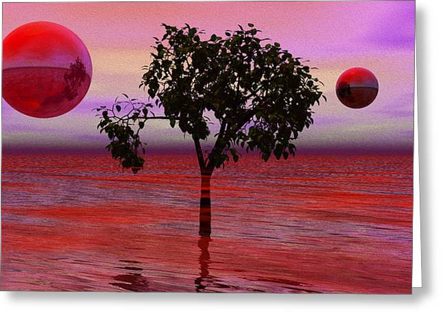 Dream Scape Greeting Cards - Dream Scapes Series One The Last Tree Greeting Card by Sir Josef  Putsche Social Critic