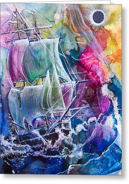 Sailing Ship Mixed Media Greeting Cards - Dream Ship Greeting Card by Patricia Allingham Carlson