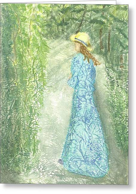 Young Lady Mixed Media Greeting Cards - Dream Stroll Greeting Card by Jeanne Hyland-Curtin
