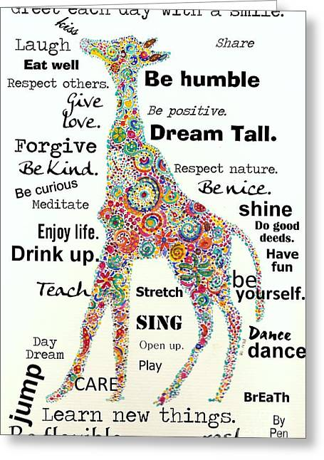 Enjoying Life Mixed Media Greeting Cards - Dream Tall Greeting Card by Janpen Sherwood