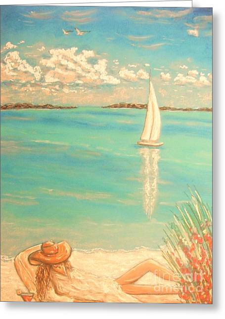 Blue Sailboat Pastels Greeting Cards - Dream Greeting Card by The Beach  Dreamer