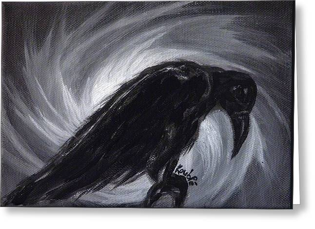 Raven Greeting Cards - Dream the crow black dream. Greeting Card by Rouble Rust