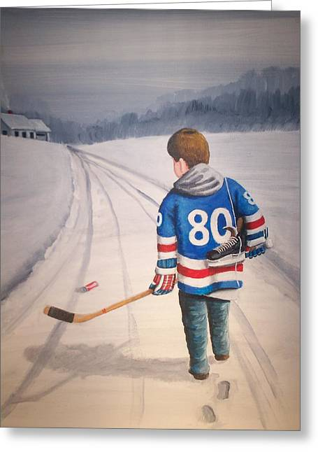 Nhl Winter Classic Greeting Cards - Dream Walking - 80 Olympics Greeting Card by Ron  Genest