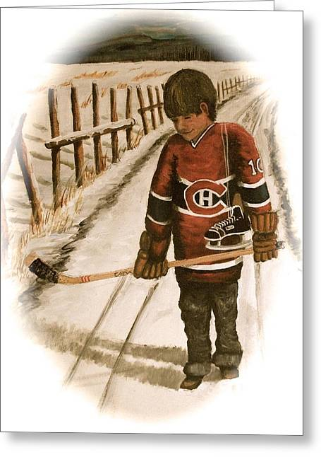 Youth Hockey Paintings Greeting Cards - Dream Walking - Lil Hab II Greeting Card by Ron  Genest