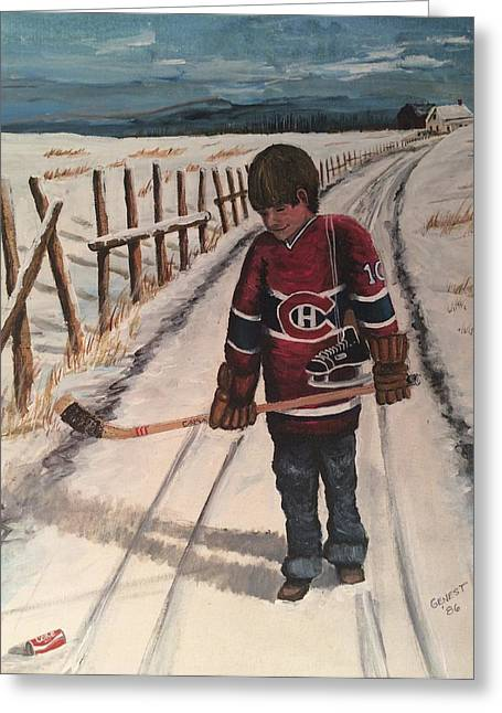 Youth Hockey Paintings Greeting Cards - Dream Walking - Lil Hab Greeting Card by Ron  Genest