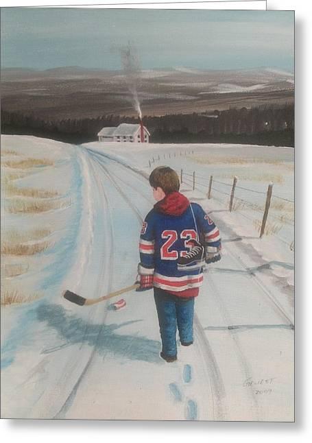 Shinny Hockey Greeting Cards - Dream Walking - Lil Ranger Greeting Card by Ron  Genest