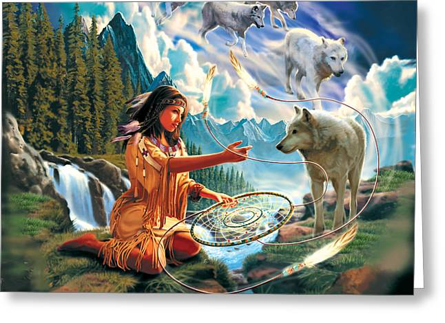 Native American Woman Greeting Cards - Dreamcatcher 3 Greeting Card by Robin Koni