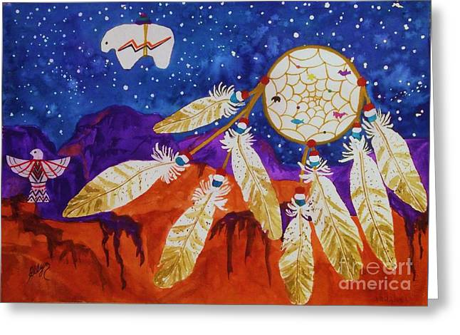 Dreamcatcher Over The Mesas Greeting Card by Ellen Levinson