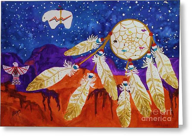 Blue Abstracts Greeting Cards - Dreamcatcher Over The Mesas Greeting Card by Ellen Levinson