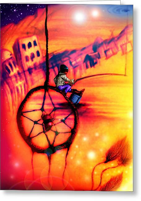 Dream Catcher Gallery Paintings Greeting Cards - Dreamcatcher Greeting Card by Ruben Santos