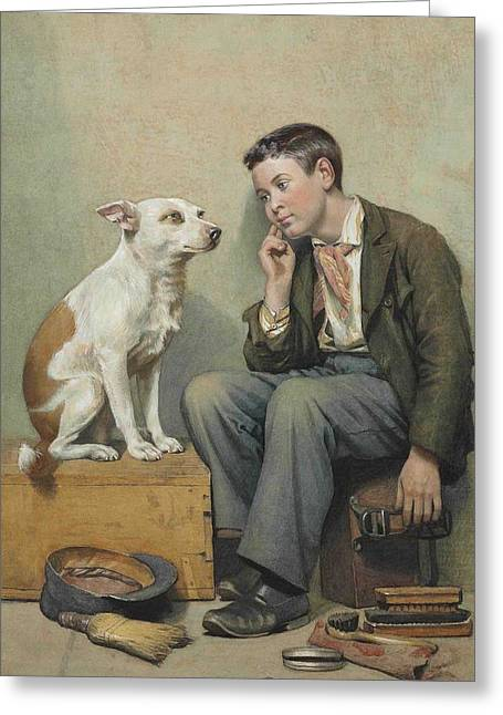 Portaits Greeting Cards - Dreamer - 1899 Greeting Card by John George Brown