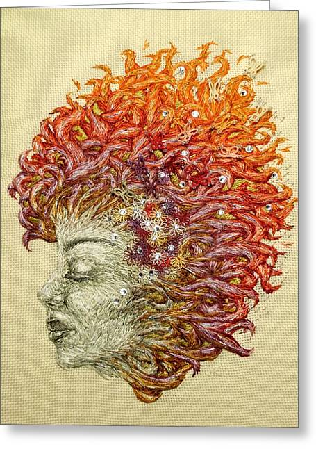 Thread Tapestries - Textiles Greeting Cards - Dreamer Greeting Card by Jennifer Kohr