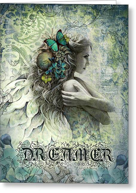 Angel Mixed Media Greeting Cards - Dreamer Greeting Card by Jessica Galbreth