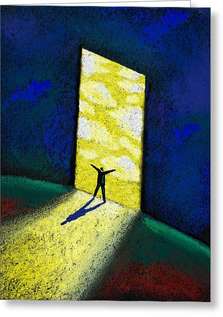 Doorway Greeting Cards - Dreamer Greeting Card by Leon Zernitsky