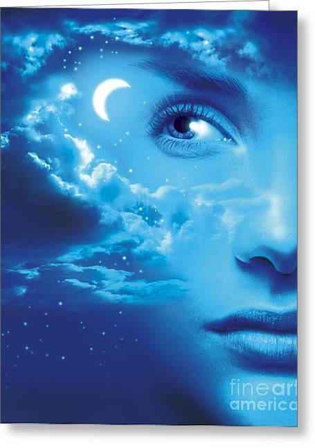 Psychological Space Greeting Cards - Dreaming, Conceptual Image Greeting Card by Wieslaw Smetek